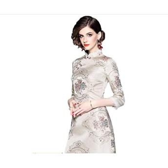 XSHD 3月4日 - スリーブが改善されたチャイナジャガードドレス短いセクションの冬服新しい女性の服中国風レトロな水溶性レース (色 : 白い, サイズ : S)