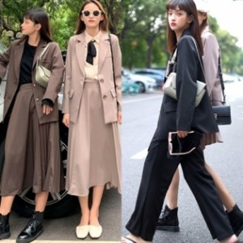 セットアップ ジャケット 韓国 ファッション レディース 選べる ワイドパンツ ロングスカート  春 セットアップ テーラードジャケット 春