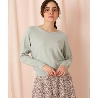 (Couture Brooch/クチュール ブローチ)リボン&袖パール調釦ニットプルオーバー/レディース ライトグリーン(021)