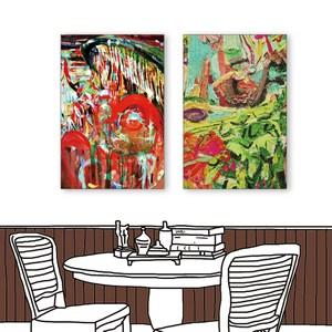 24mama掛畫 二聯式 藝術抽象 油畫風無框畫 40X60cm
