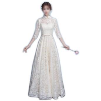 女性のドレス中国風チャイナ半袖イブニングウェディングパーティーフォーマルドレス (Color : Champagne-B, Size : L)