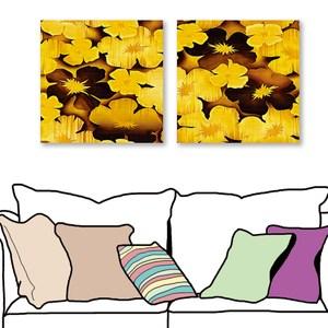 24mama掛畫 二聯式 黃金花卉 喜氣無框畫 60X60cm