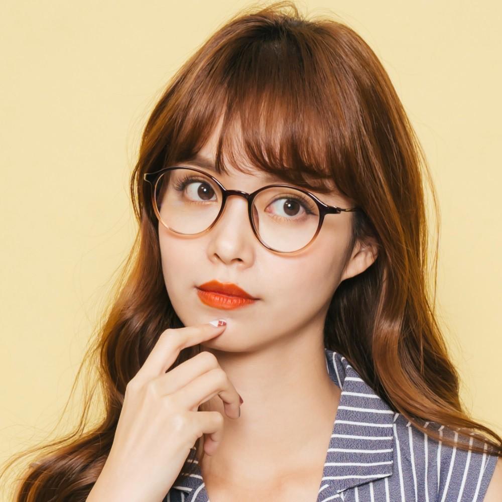 韓星時尚網紅復古巧克力棕TR90輕量圓框金屬鏡腳UV400濾藍光眼鏡│ALEGANT