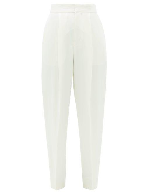 Dundas - High-rise Satin Cigarette Trousers - Womens - Ivory