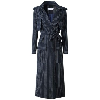 女性のドレス 女性長袖ノッチラペルベルト付きダスタートレンチコートカーディガンディープVターンダウンカラーオーバーコートアウトウェアハイスプリットストライプロングマキシドレスシンオープンフロントジャケット (Color : Black, Size : XL)
