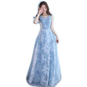 ノースリーブレースシフォンウェディング花嫁介添人ガウンウエディングドレスブルー女性 (Color : Blue-C, Size : XL)