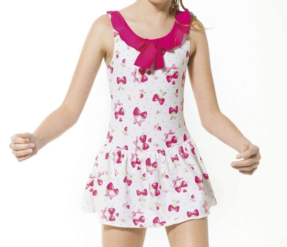 【M5550 】梅林泳裝降價↘特賣~女童草莓印花布領綴荷葉邊綁帶連身裙泳衣  贈泳帽