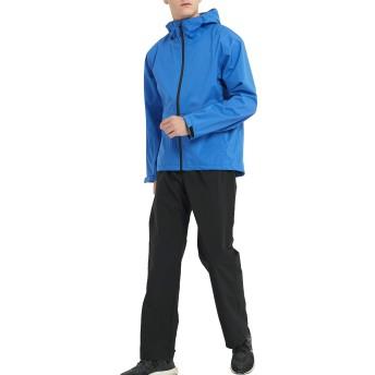 アオキ(aoki outdoor)レインウェア レインスーツ レインコート アウトドア 上下セット マウンテンパーカー カッパ 透湿 防水 防風 軽量 (ブルー, LL)