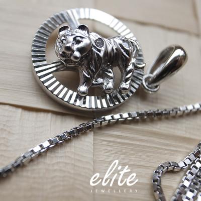 【伊麗珠寶 Elite Jewellery】925純銀  12生肖項鍊 - 黃金虎