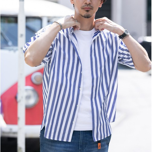 【ROSSO】輕鬆感直條紋短袖襯衫