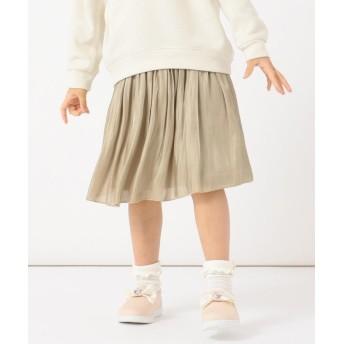 (anyFAM(KIDS)/エニファムキッズ)mamagirl掲載【親子でお揃い/S-M】オーロラサテンギャザースカート/ ベージュ系