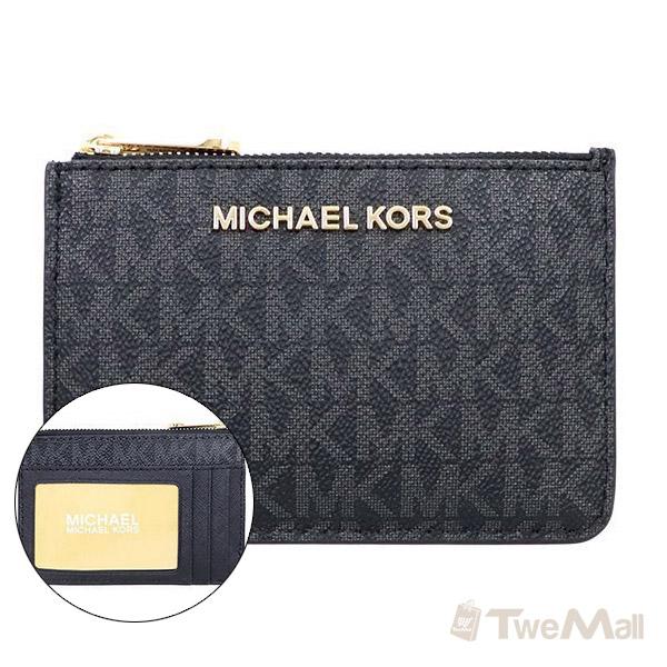 MICHAEL KORS MK 防刮皮革鑰匙零錢包(黑灰)
