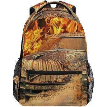 GUKISALA リュックサック、火オレンジブラックとクールな古いレトロなビンテージ車、バックパック 男女兼用 アウトドア旅行バッグ オシャレ 可愛い 通勤 通学用 軽量 高校生