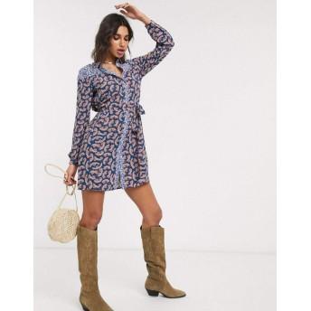 オンリー ミディドレス レディース Only shirt dress in paisley mixed print [並行輸入品]