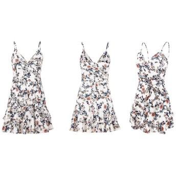 女性のドレス 女性のノースリーブクロスディープVネックホルターフリルカジュアルスカート夏のビーチドレス花柄のドレスミニスイングドレス (Color : White, Size : M)