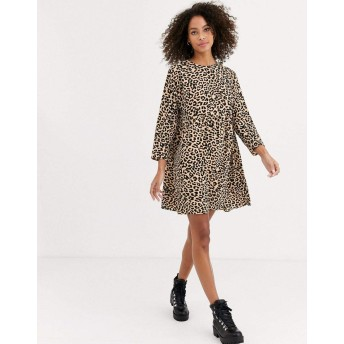 エイソス ミディドレス レディース ASOS DESIGN long sleeve smock mini dress in leopard print [並行輸入品]