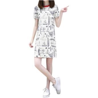 tシャツ ワンピース レディース 春夏 可愛い しんぷる 簡単 可愛い はながら 大きいサイズ レディース 韓国 ワンピース aライン 痩せる 簡単 おおきいサイズ 半袖 ゆるかわ