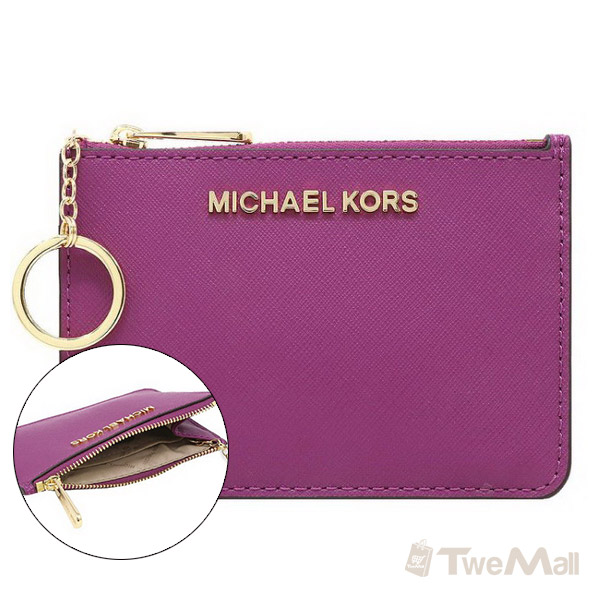 MICHAEL KORS MK 素面防刮皮革鑰匙零錢包(紫)