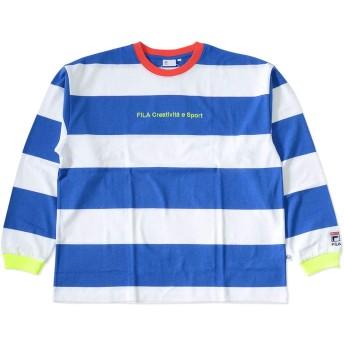 FILA フィラ ロンT ロングTシャツ 長袖 ボーダー ロゴ&テキスト刺繍 (FM9833) XL 09/BLUE