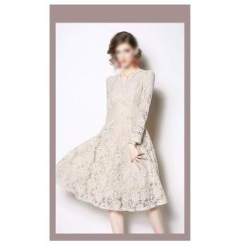 レースのパネルドレス女性のアプリコットミドル丈ドレス (Color : Picture color, Size : M)