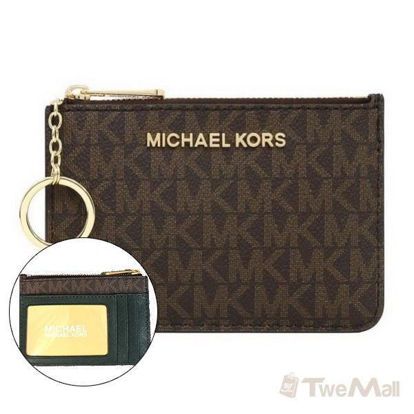 MICHAEL KORS MK 防刮皮革鑰匙零錢包(深咖啡)