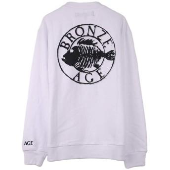 (ラグタイム セレクト) Ragtime Select トレーナー メンズ BRONZE AGE フィッシュプリント 長袖Tシャツ ロンT 魚 クルーネック Q020124-12 ホワイト L