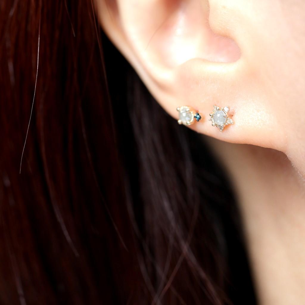 14K Star Rough Diamond Piercing 星星原鑽鎖珠耳環(單個)