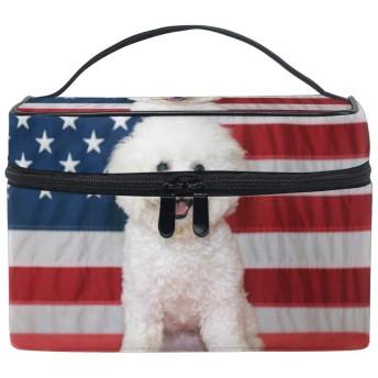 アメリカの国旗犬 洗面バッグ 化粧品収納バッグ 大容量 旅行 化粧キット
