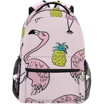GUKISALA リュックサック、Flamingo Pineapple Drawings Seamless Endless Repeating、バックパック 男女兼用 アウトドア旅行バッグ オシャレ 可愛い 通勤 通学用 軽量 高校生