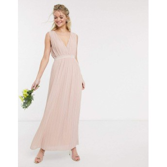 ヤス マキシドレス レディース Y.A.S pleated maxi dress with deep v neck in pink [並行輸入品]