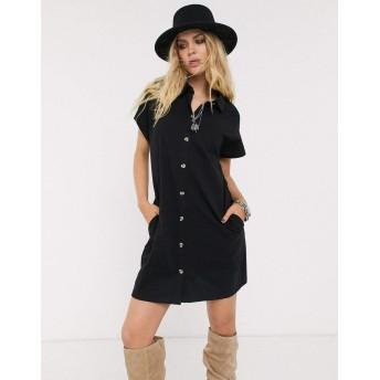 エイソス ミディドレス レディース ASOS DESIGN cotton slubby shirt dress in longer length in black [並行輸入品]