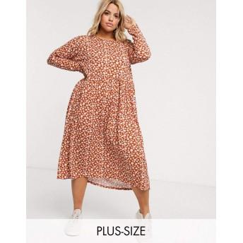 ウェンズデーガール ドレス 大きいサイズ レディース Wednesday's Girl Curve long sleeve midi smock dress in ditsy floral [並行輸入品]