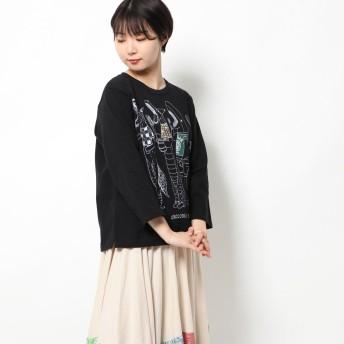 スカラー ScoLar デジタル柄ロングスリーブTシャツ (ブラック)