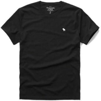 アバクロ 正規 Tシャツ メンズ クルーネック 丸首 アバクロンビー&フィッチ メンズ 半袖 Abercrombie&Fitch (M, BLACK)