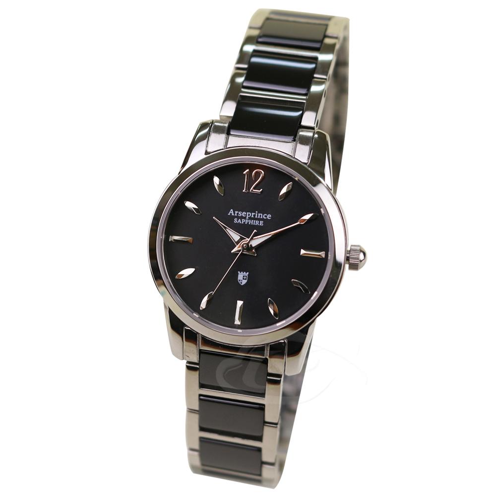 【Arseprince亞瑟王子】真摯時刻陶瓷中性錶-黑銀