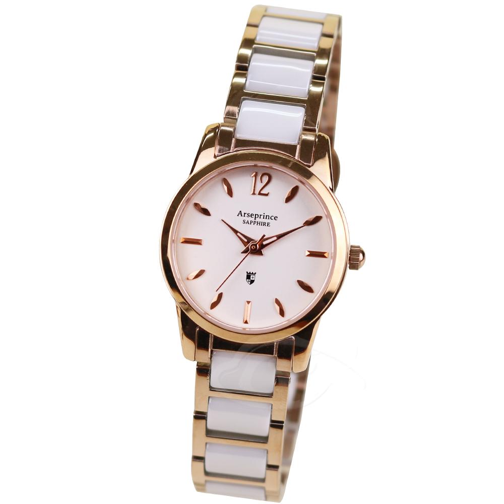 【Arseprince亞瑟王子】真摯時刻陶瓷中性錶-白金