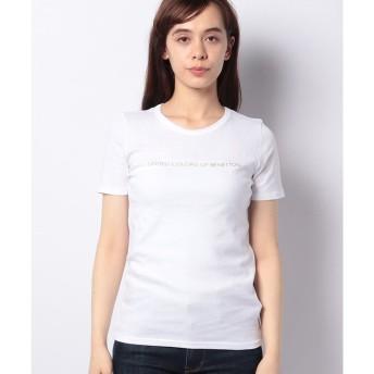 ベネトン(レディース) ロゴクルーネック半袖Tシャツ・カットソー(ホワイト)
