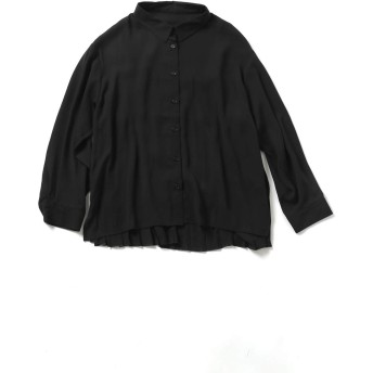 SPINNS シフォン素材バックプリーツ シャツ ブラック -
