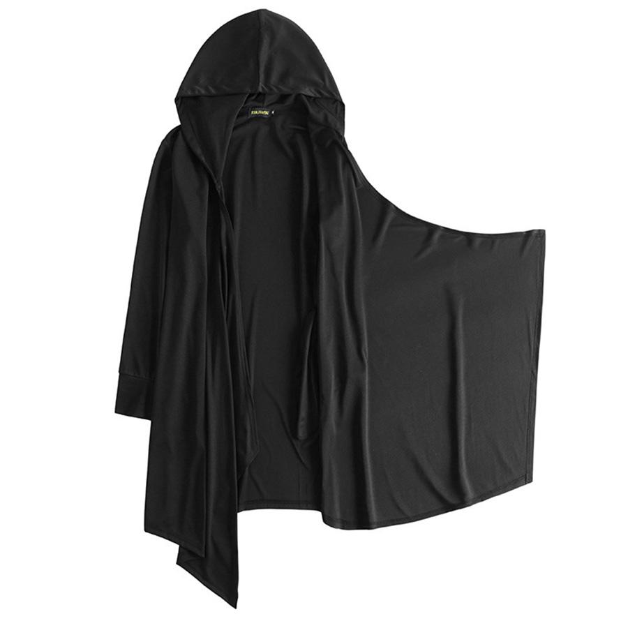 嚴選訂製刷毛內裏.暗黑系斗篷式連帽外套