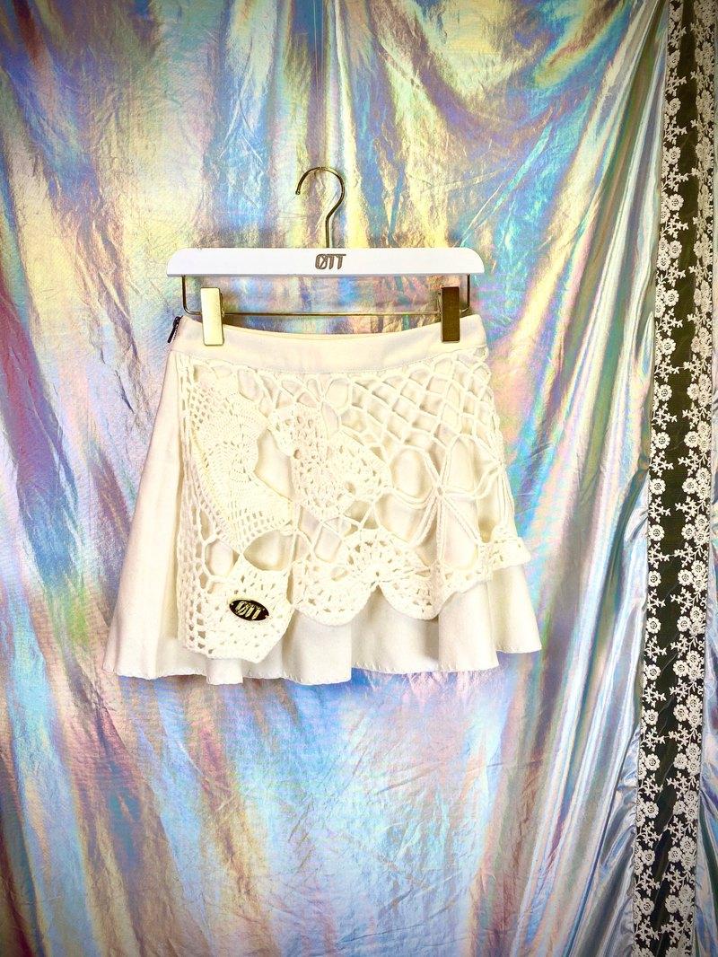 只此1件*米白 Cream 日系 森系 重手工 全手工抅花樣設計 Crochet 圓枱裙 Skirt*