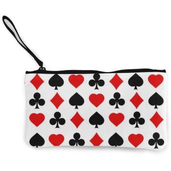 トランプ柄 心柄 チェック柄 格子柄 菱形 幾何学柄 キャンバス小銭入れ収納袋ポーチミニ財布ジッパー付きキャッシュバッグかわいい収納ロングウォレット22cm