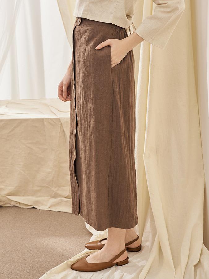 祕密口袋排釦棉麻長裙