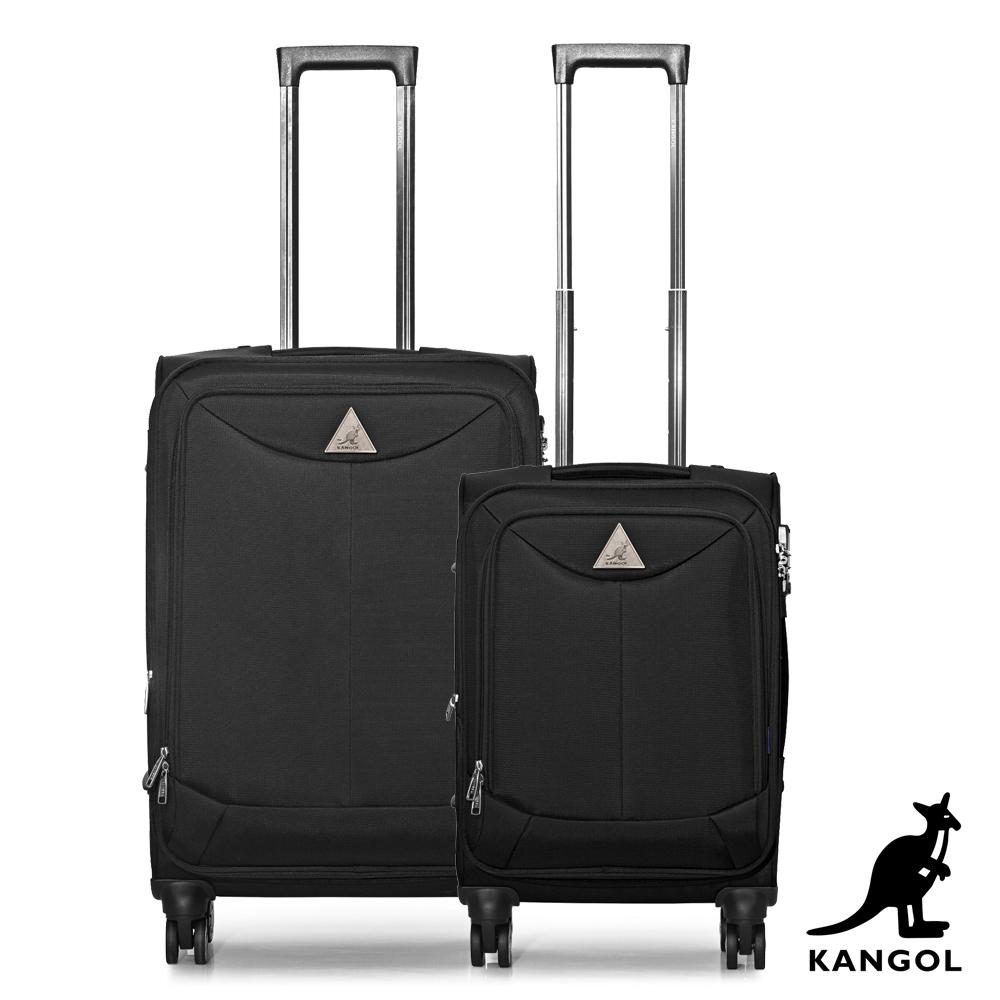 KANGOL - 英國袋鼠世界巡迴20+24吋布面行李箱-黑色