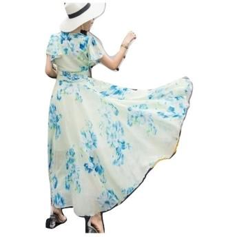 レディース マキシ ワンピース M 白 × 青 花柄 シフォン フレア袖 エレガント ドレス ワンピ