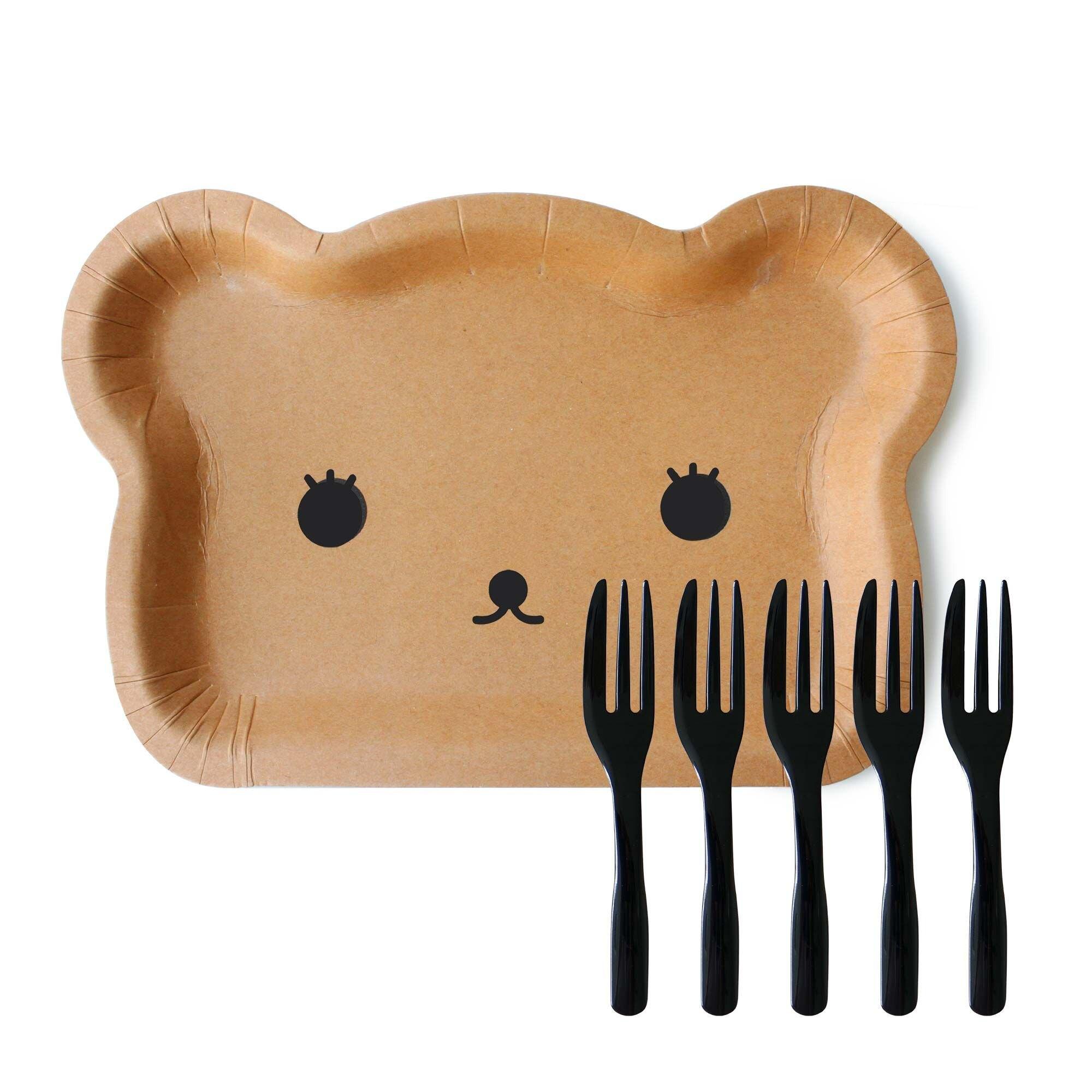 【嚴選SHOP】獨立包裝 小熊蛋糕盤叉組 5叉子5盤子一包 小叉子盤叉組 紙盤 免洗盤 蛋糕紙盤 生日蛋糕【W034】