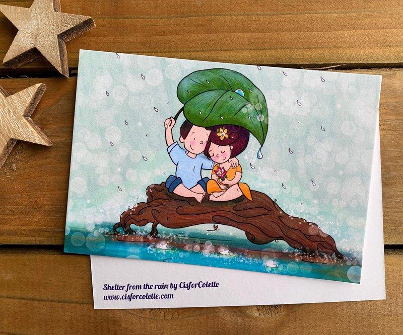 一張明信片,上面寫著我的插圖:雨中的庇護所