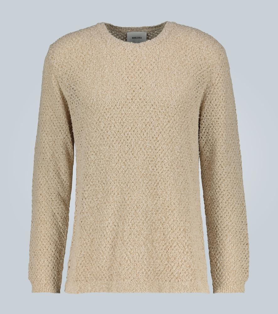 Open knit crewneck sweater