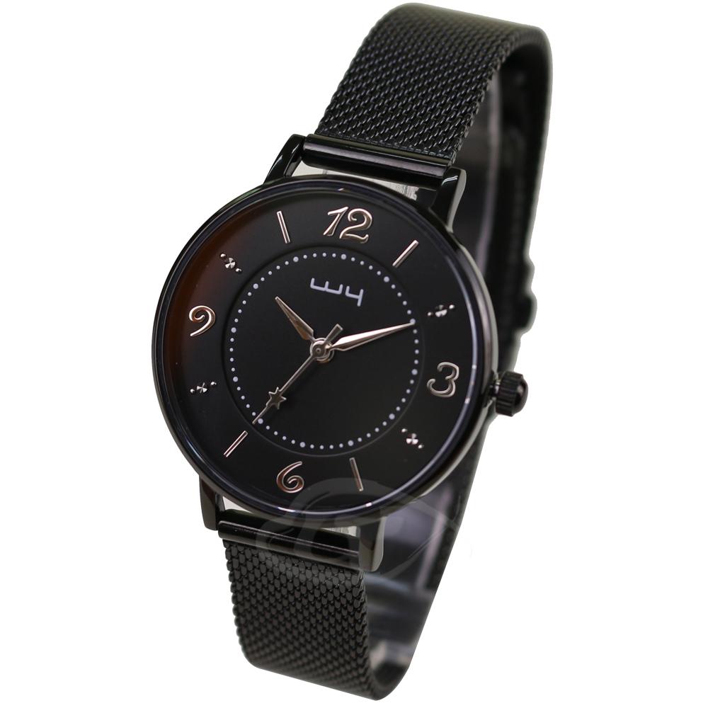 【WY威亞】探索視界米蘭黑帶錶-黑盤銀針