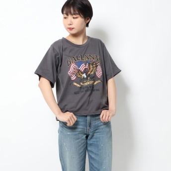 ミージェーン me Jane ピグメントイーグルプリントBOX Tシャツ (チャコールグレー)
