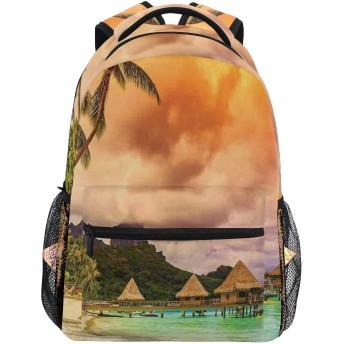 EILANNA リュックサック、日没のロマンチックな景色で山のビーチとヤシの木オレンジ雲、軽量 大容量 男女兼用 おしゃれ 可愛い リュックバックパッ 通学 通勤 外出 アウトドア 多機能